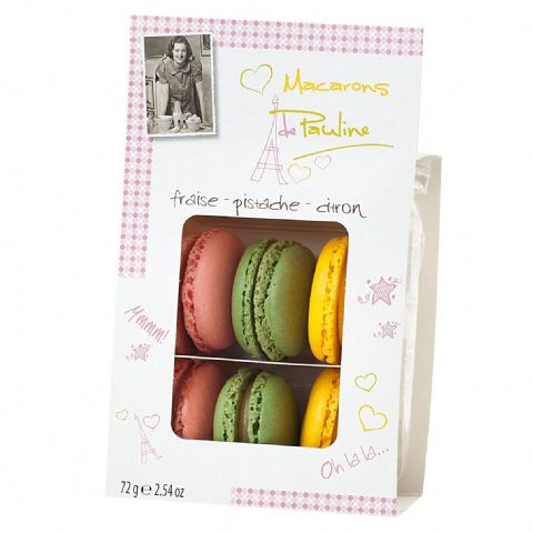 Strawberry Pistachio Lemon Macarons de Pauline d'Haubry 72g (Pack of 6)